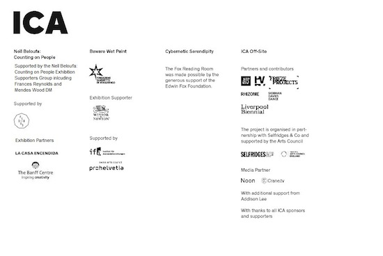 Autumn 2014 programme at Institute of Contemporary Art